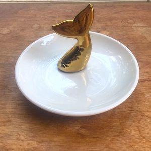 New! Gold Mermaid Tale Jewelry Trinket Ring Dish